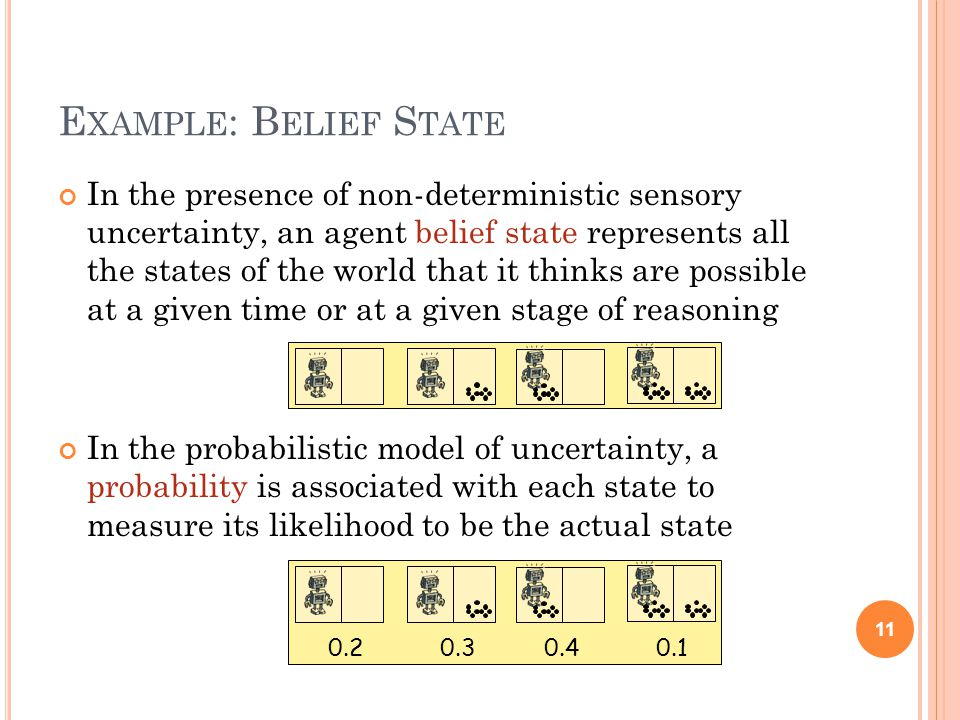E XAMPLE : B ELIEF S TATE In the presence of non-deterministic sensory uncertainty, an agent belief state represents all the states of the world that it thinks are possible at a given time or at a given stage of reasoning In the probabilistic model of uncertainty, a probability is associated with each state to measure its likelihood to be the actual state 11 0.20.30.40.1