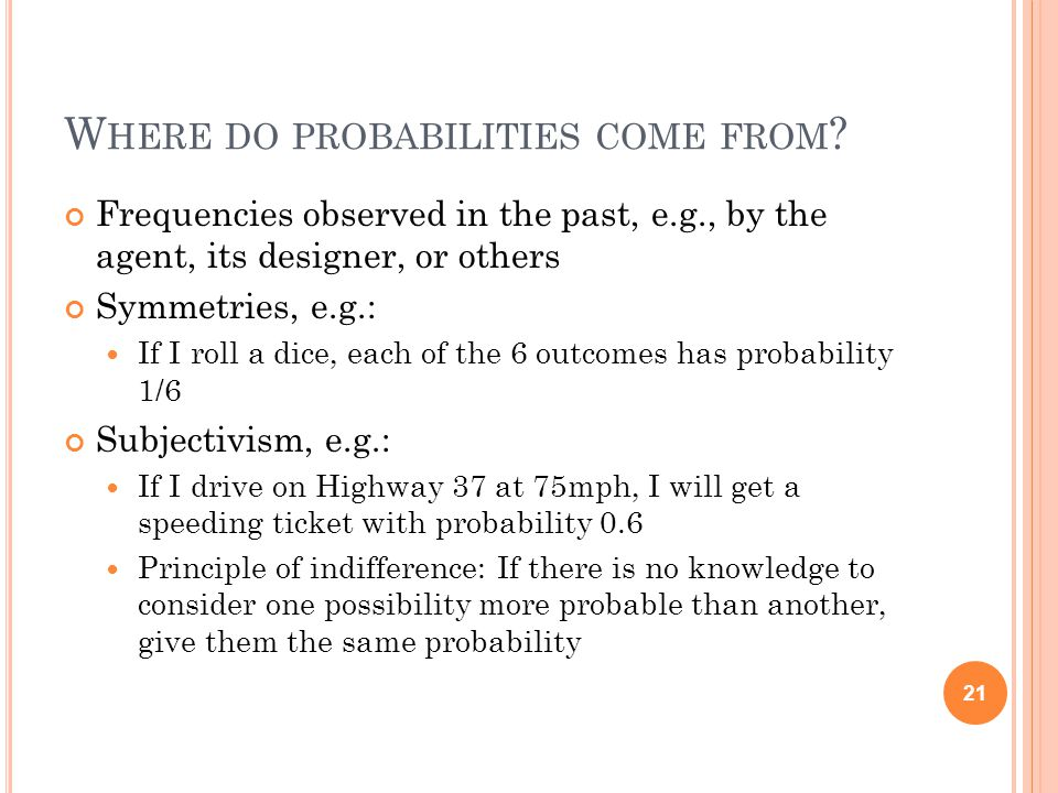 W HERE DO PROBABILITIES COME FROM .
