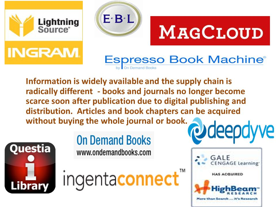Information is widely available and the supply chain is radically different - books and journals no longer become scarce soon after publication due to
