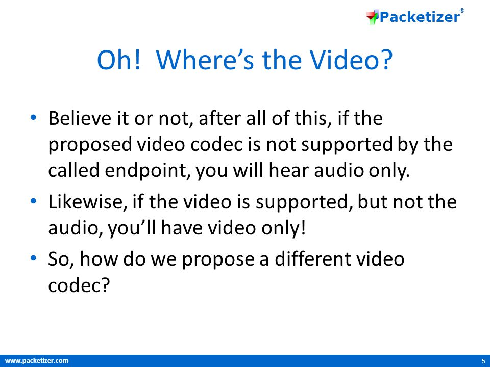 www.packetizer.com Packetizer ® Oh. Where's the Video.