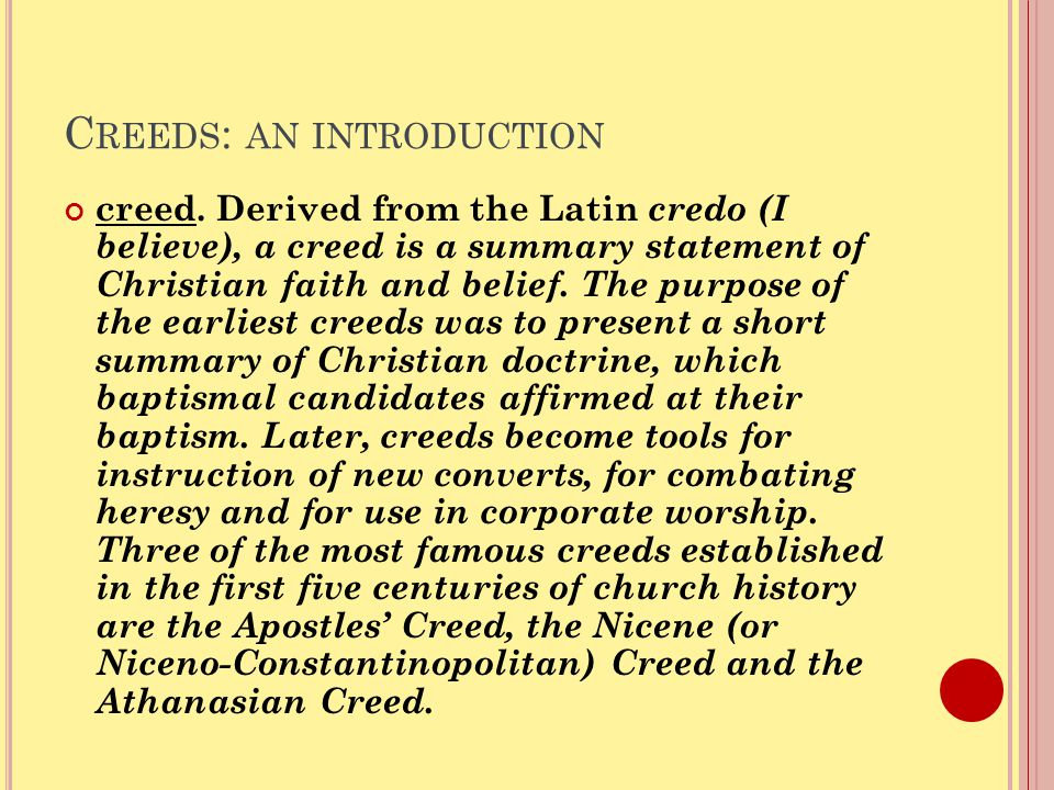 C REEDS : AN INTRODUCTION creed.