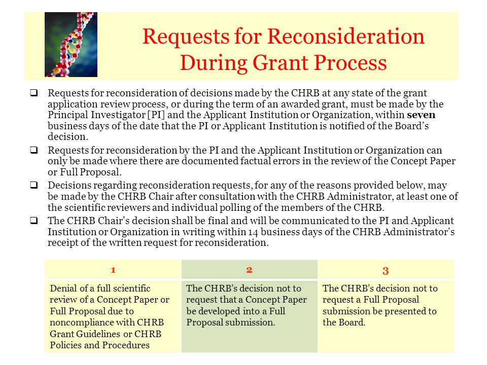 Calendar of Key Dates Requests for Reconsideration During Grant Process  Requests for reconsideration of decisions made by the CHRB at any state of t