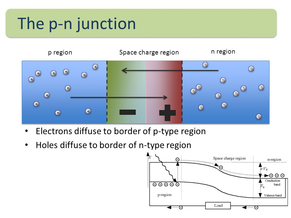 The p-n junction Electrons diffuse to border of p-type region Holes diffuse to border of n-type region + - + + + + + + + + + + - - - - - - - - - - - Space charge regionp region n region