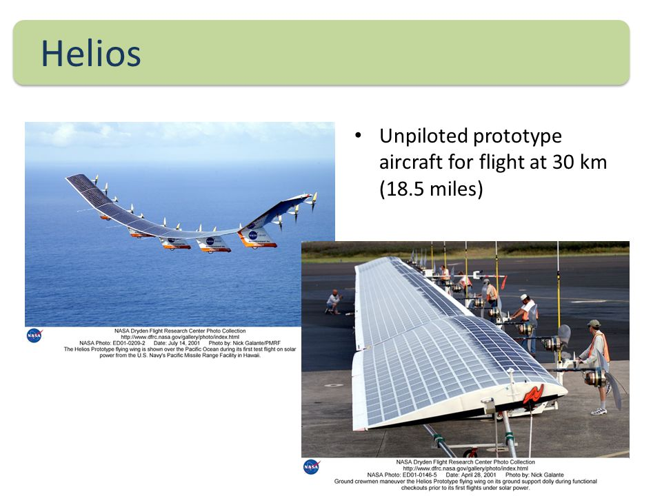 Helios Unpiloted prototype aircraft for flight at 30 km (18.5 miles)