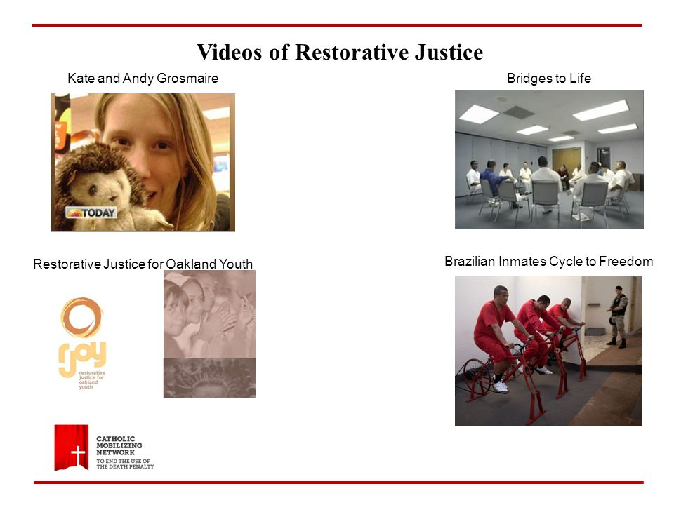 Videos of Restorative Justice Brazilian Inmates Cycle to Freedom Kate and Andy GrosmaireBridges to Life Restorative Justice for Oakland Youth