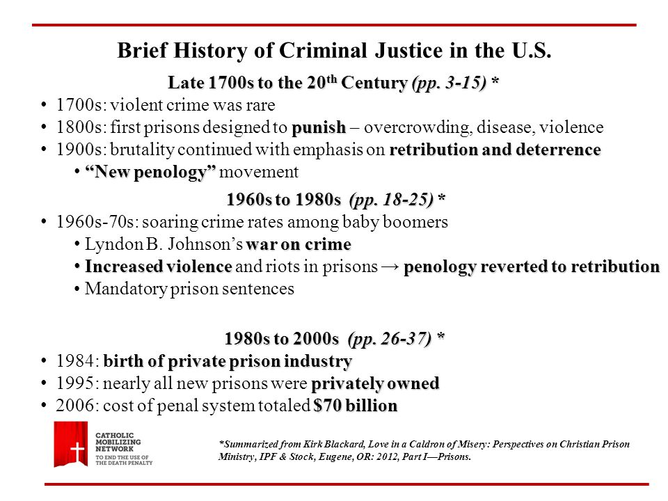 Brief History of Criminal Justice in the U.S. Late 1700s to the 20 th Century (pp.