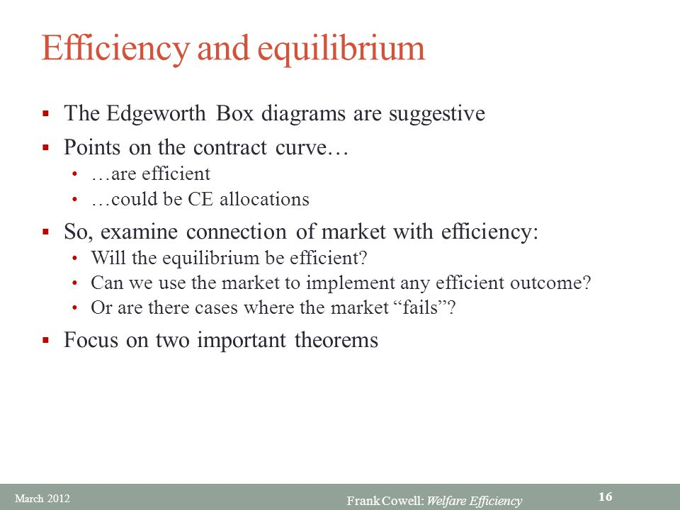 Frank Cowell: Welfare Efficiency Efficiency and equilibrium  The Edgeworth Box diagrams are suggestive  Points on the contract curve… …are efficient