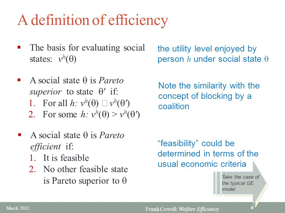 Frank Cowell: Welfare Efficiency Derive the utility possibility set  From the attainable set… A A (x 1 a, x 2 a ) (x 1 b, x 2 b ) (x 1 a, x 2 a ) (x 1 b, x 2 b ) U  a =U a (x 1 a, x 2 a )  b =U b (x 1 b, x 2 b )  a =U a (x 1 a, x 2 a )  b =U b (x 1 b, x 2 b )  …take an allocation  Evaluate utility for each agent  Repeat to get utility possibility set March 2012 7