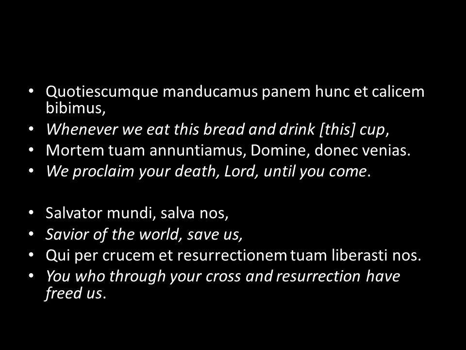 Quotiescumque manducamus panem hunc et calicem bibimus, Whenever we eat this bread and drink [this] cup, Mortem tuam annuntiamus, Domine, donec venias.