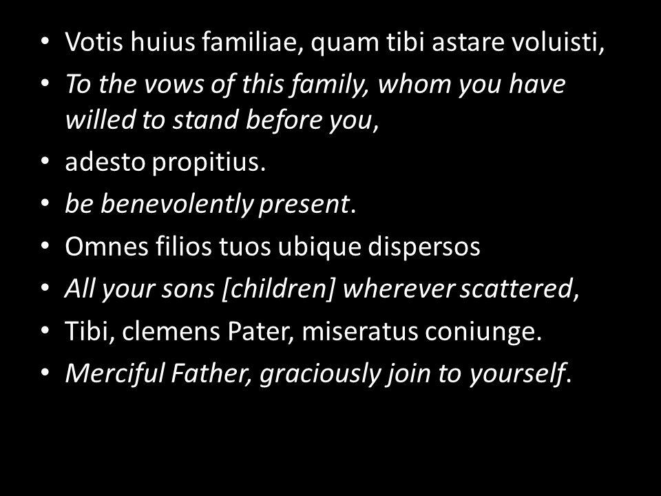 Votis huius familiae, quam tibi astare voluisti, To the vows of this family, whom you have willed to stand before you, adesto propitius.
