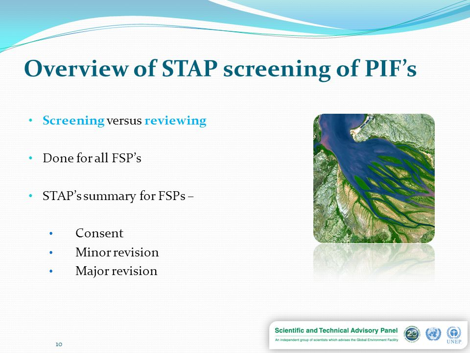 Overview of STAP screening of PIF's Screening versus reviewing Done for all FSP's STAP's summary for FSPs – Consent Minor revision Major revision 10