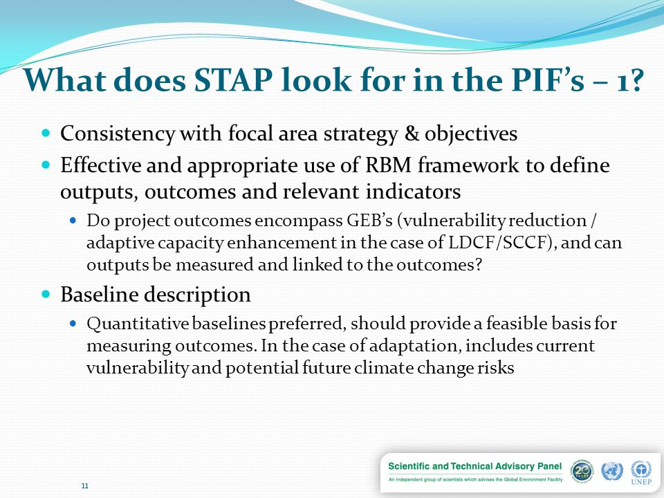 What does STAP look for in the PIF's – 1.