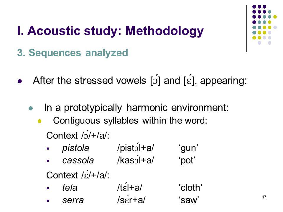 16 I. Acoustic study: Methodology 3. Sequences analyzed Final unstressed /a/ In a neutral context (/á/+/a/): sala /sál+a/'room' Sara /sá ɾ +a/'proper