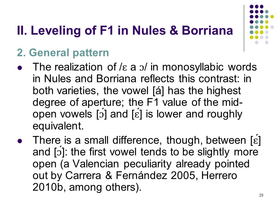 28 II. Leveling of F1 in Nules & Borriana 2. General pattern Generally, the Valencian three [−ATR] vowels, / ɛ a ɔ /, contrast among them in height: /