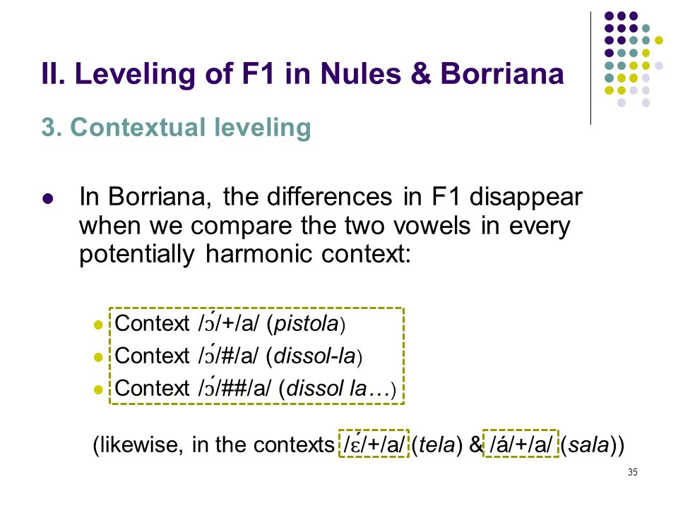 34 II. Leveling of F1 in Nules & Borriana 3. Contextual leveling In Nules, all the vowels in the contexts under study are equivalent in height, except