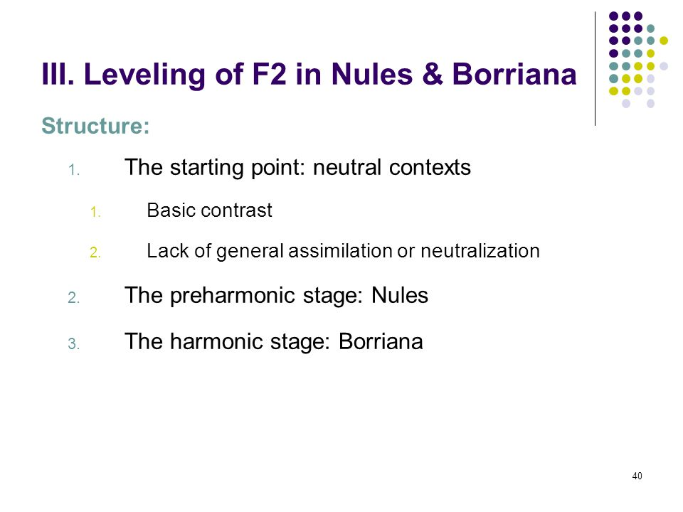 39 II. Leveling of F1 in Nules & Borriana 4. General remarks According to the traditional hypothesis, the scenario presented so far, with a radical re
