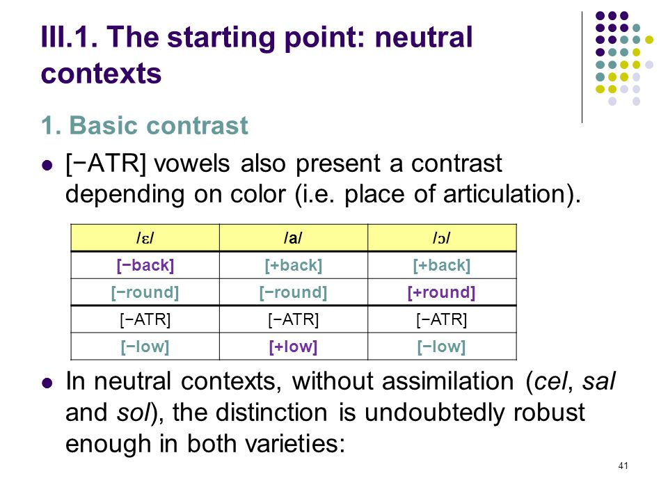 40 III. Leveling of F2 in Nules & Borriana Structure: 1. The starting point: neutral contexts 1. Basic contrast 2. Lack of general assimilation or neu