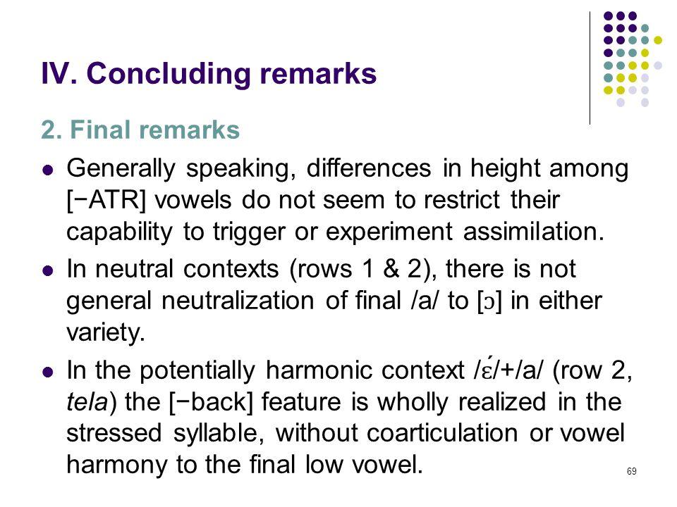 68 IV. Concluding remarks 1. Summary Changes in F2 valueNulesBorriana 1./sál+a/ 'room'XX 2./t ɛ ́l+a/ 'cloth'No 3.[t ɔ ́k ɔ ] # /la/ 'touch it ( FEM )