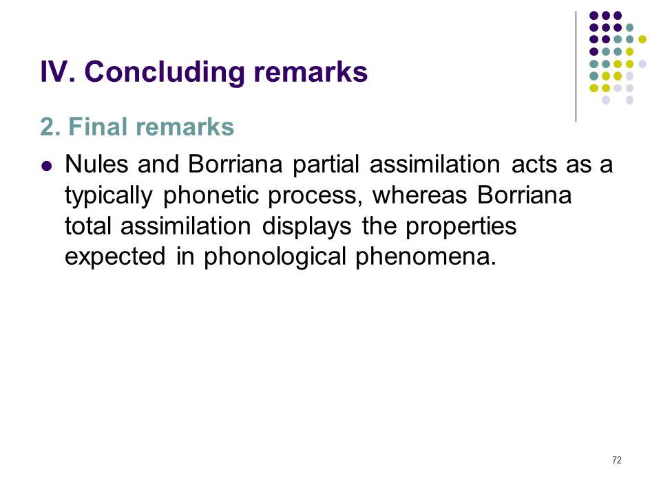 71 IV. Concluding remarks 2. Final remarks Whereas Borriana vowel harmony is sensitive to major morphological boundaries (context /dis ɔ ́l ## la…/; r