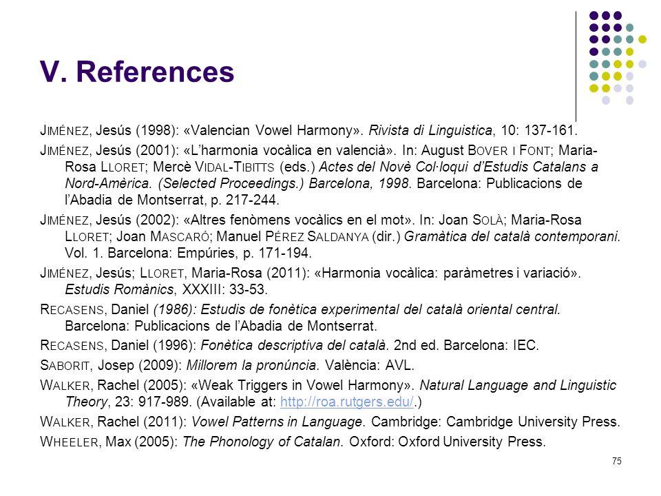 74 V. References B ARNES, Jonathan (2006): Strength and Weakness at the Interface. Berlin / New York: Mouton de Gruyter. C ARRERA, Josefina & Anna Mar