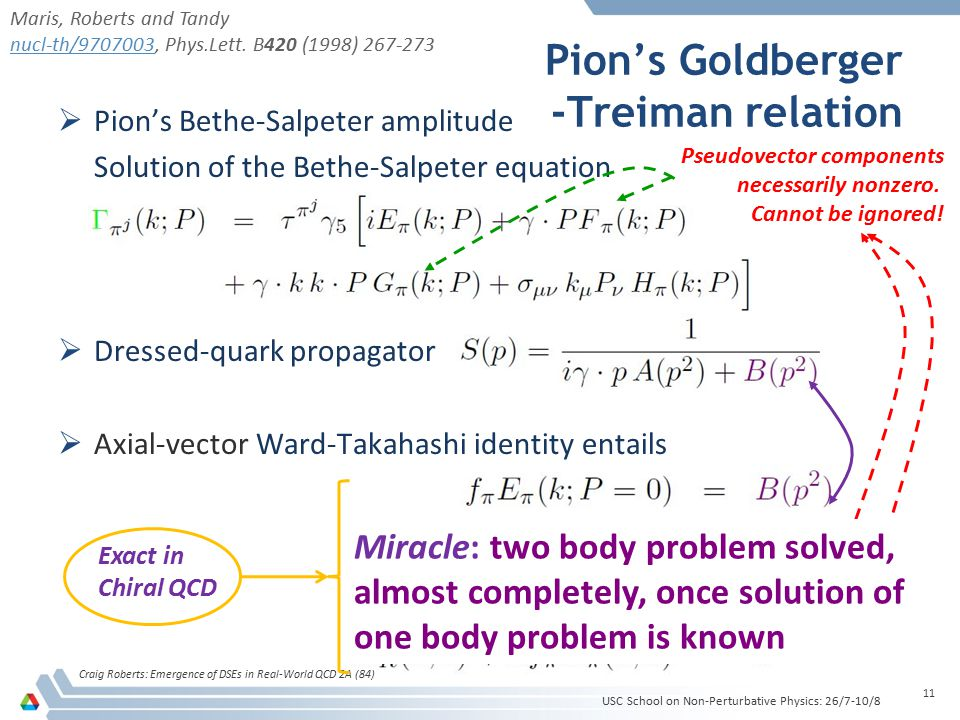 Pion's Goldberger -Treiman relation Craig Roberts: Emergence of DSEs in Real-World QCD 2A (84) 11  Pion's Bethe-Salpeter amplitude Solution of the Be