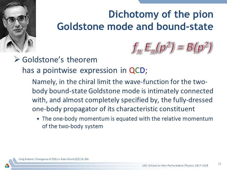 Dichotomy of the pion Goldstone mode and bound-state  Goldstone's theorem has a pointwise expression in QCD; Namely, in the chiral limit the wave-fun