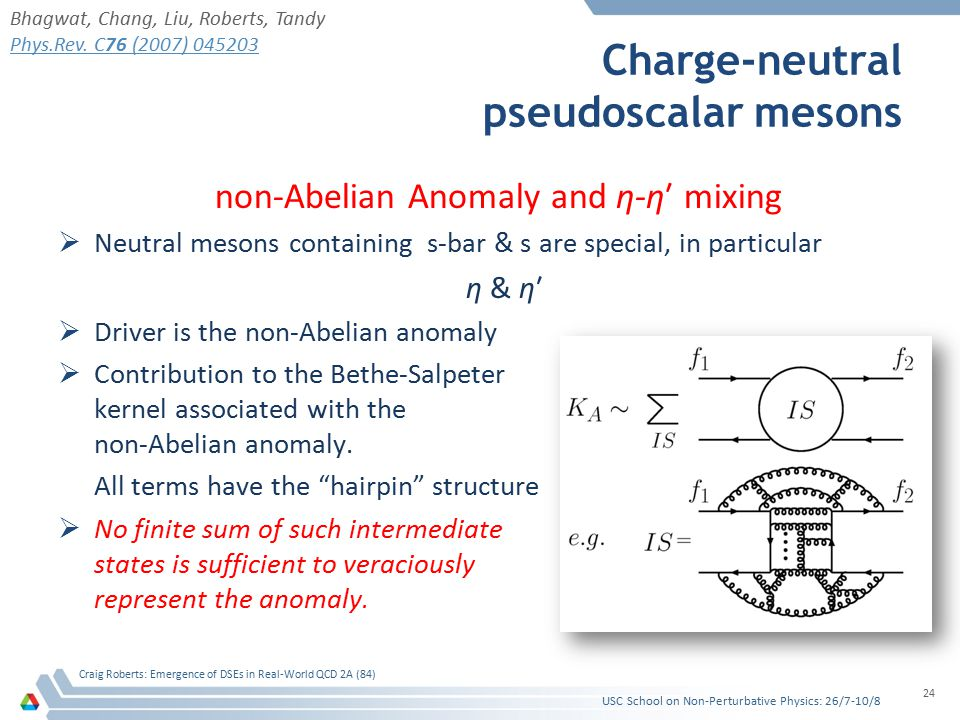 non-Abelian Anomaly and η-η′ mixing  Neutral mesons containing s-bar & s are special, in particular η & η′  Driver is the non-Abelian anomaly  Contribution to the Bethe-Salpeter kernel associated with the non-Abelian anomaly.