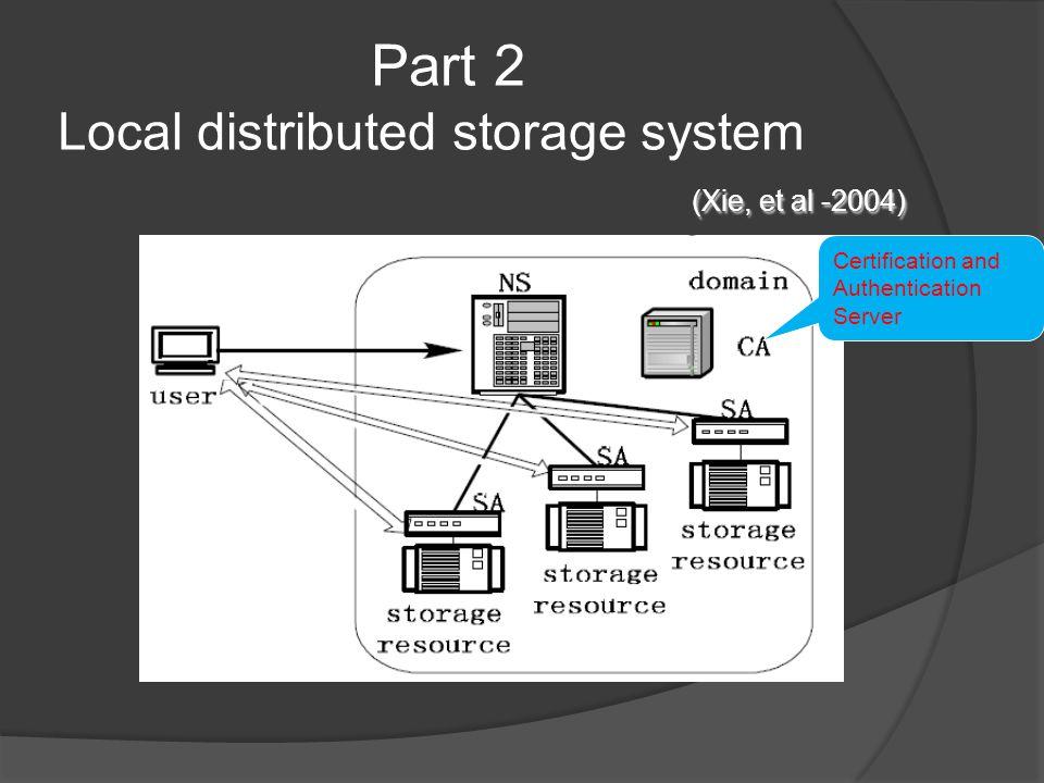 (Xie, et al -2004) Part 2 Local distributed storage system (Xie, et al -2004) Certification and Authentication Server