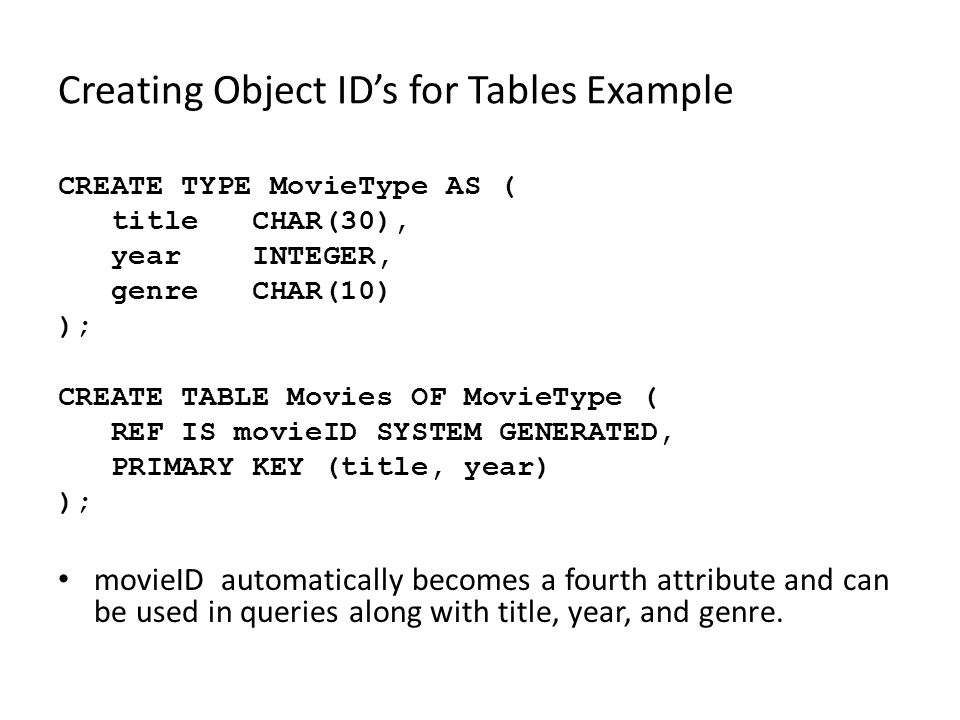 Creating Object ID's for Tables Example CREATE TYPE MovieType AS ( title CHAR(30), year INTEGER, genre CHAR(10) ); CREATE TABLE Movies OF MovieType ( REF IS movieID SYSTEM GENERATED, PRIMARY KEY (title, year) ); movieID automatically becomes a fourth attribute and can be used in queries along with title, year, and genre.