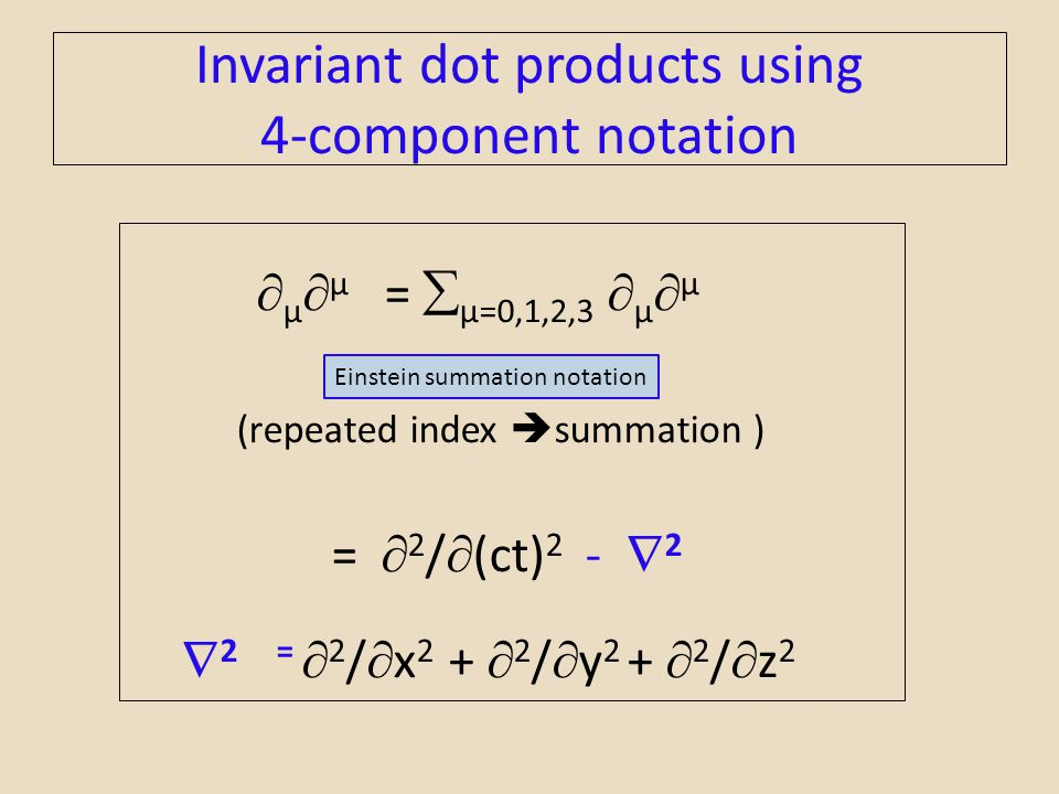 Invariant dot products using 4-component notation  µ  µ =  µ=0,1,2,3  µ  µ (repeated index  summation ) =  2 /  (ct) 2 -  2  2 =  2 /  x 2