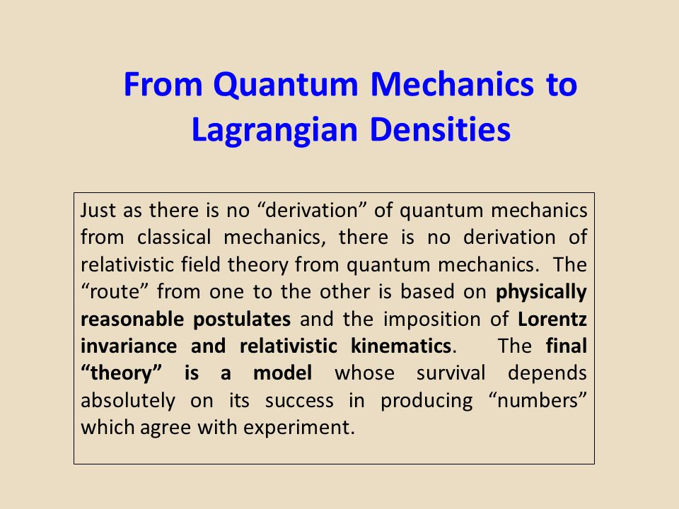 """From Quantum Mechanics to Lagrangian Densities Just as there is no """"derivation"""" of quantum mechanics from classical mechanics, there is no derivation"""
