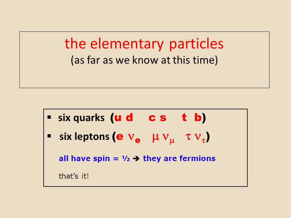 the elementary particles (as far as we know at this time)  six quarks (u d c s t b)  six leptons (e e       ) all have spin = ½  they