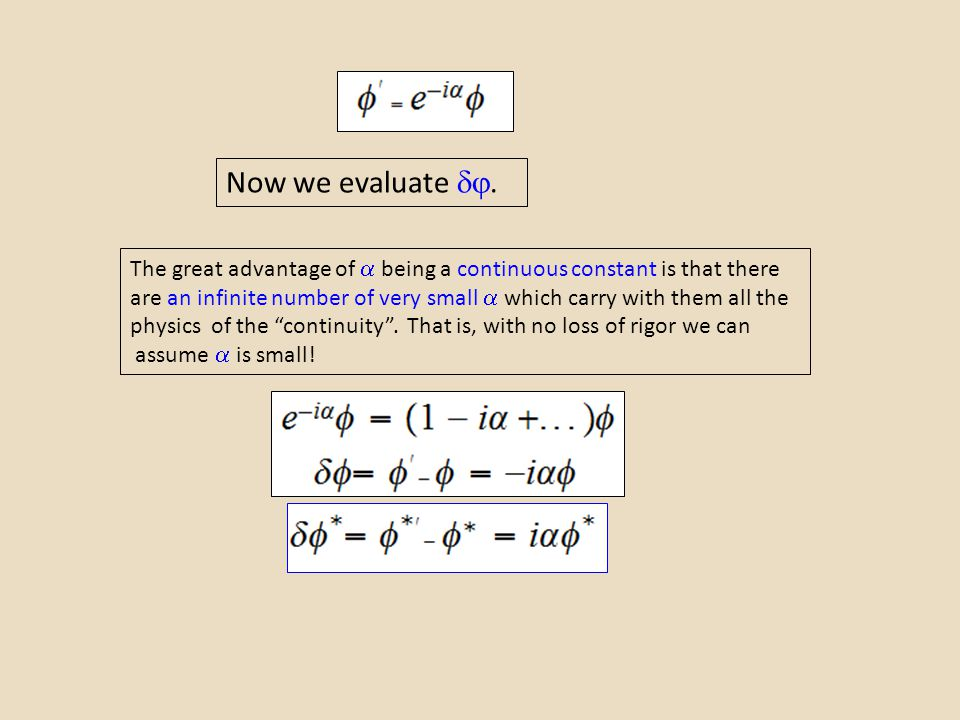 Now we evaluate . The great advantage of  being a continuous constant is that there are an infinite number of very small  which carry with them al