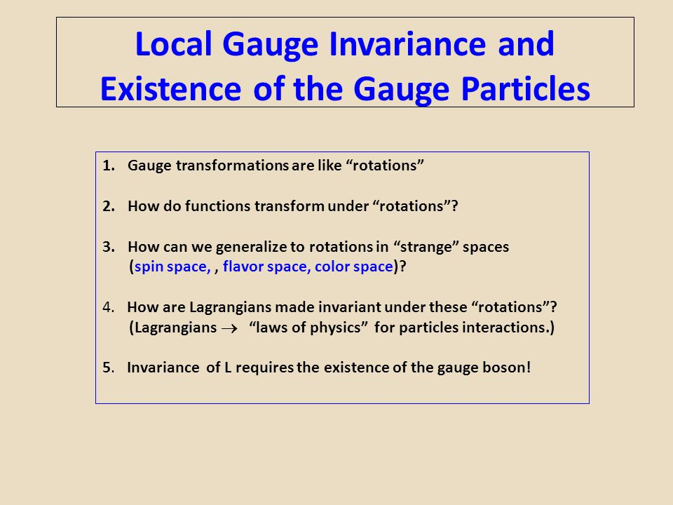 """Local Gauge Invariance and Existence of the Gauge Particles 1.Gauge transformations are like """"rotations"""" 2.How do functions transform under """"rotations"""