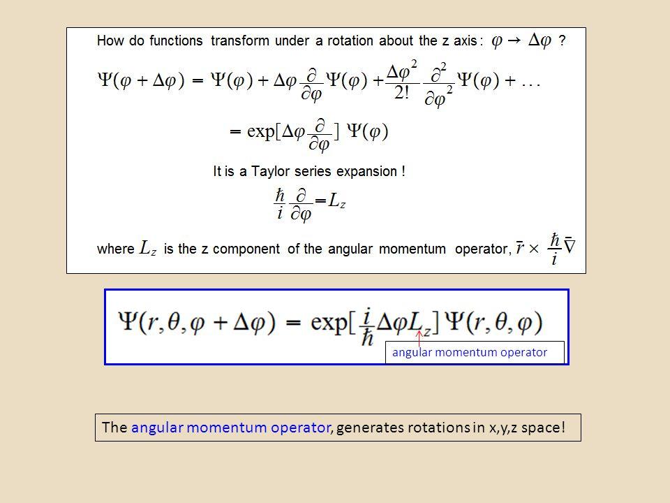 The angular momentum operator, generates rotations in x,y,z space! angular momentum operator