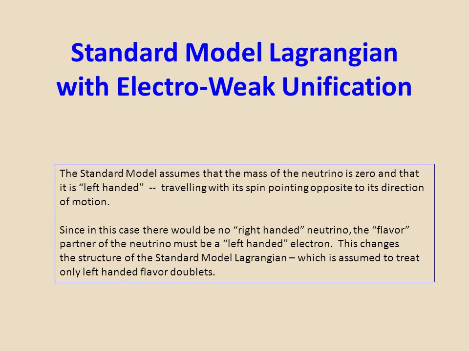 """Standard Model Lagrangian with Electro-Weak Unification The Standard Model assumes that the mass of the neutrino is zero and that it is """"left handed"""""""