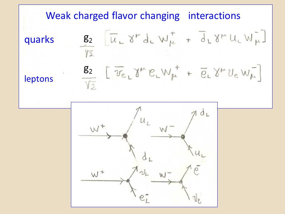 quarks leptons Weak charged flavor changing interactions g2g2 g2g2
