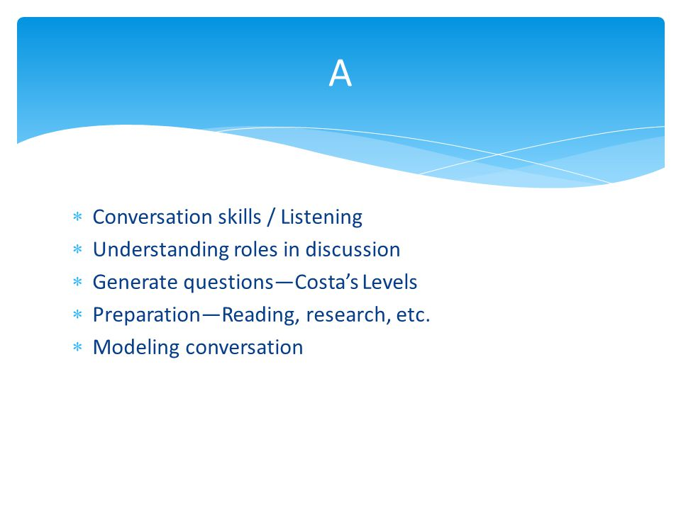  Conversation skills / Listening  Understanding roles in discussion  Generate questions—Costa's Levels  Preparation—Reading, research, etc.