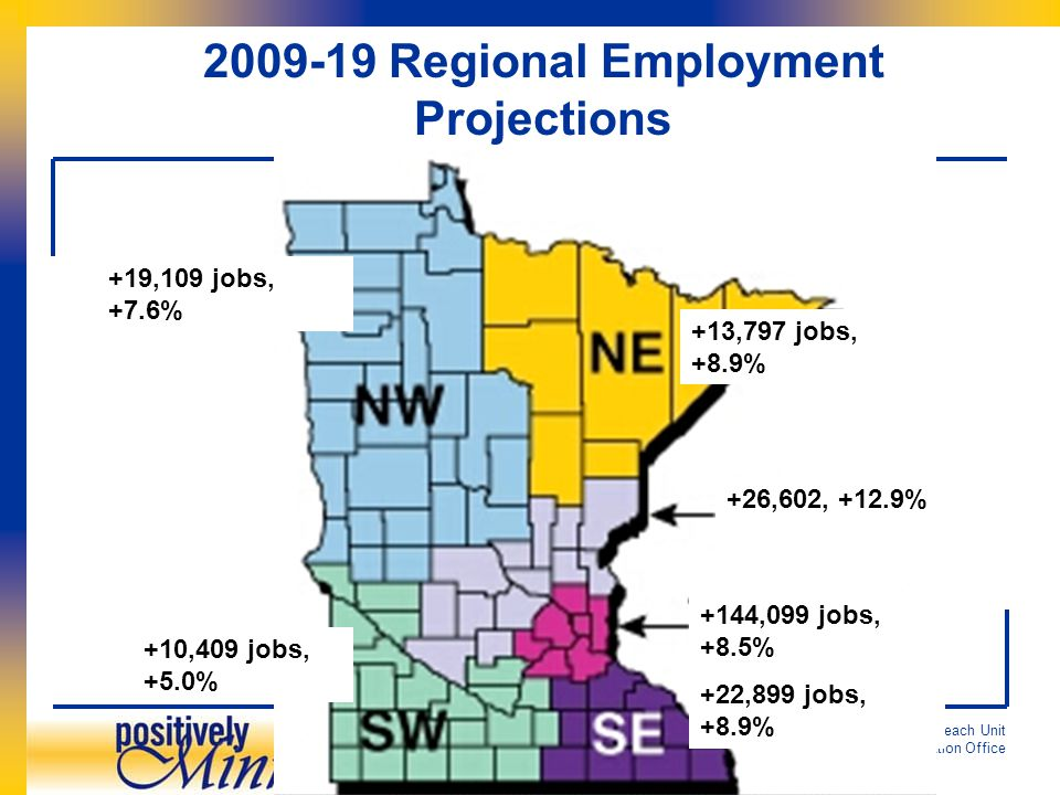 Regional Analysis & Outreach Unit Analysis and Evaluation Office 2009-19 Regional Employment Projections +13,797 jobs, +8.9% +26,602, +12.9% +144,099 jobs, +8.5% +22,899 jobs, +8.9% +10,409 jobs, +5.0% +19,109 jobs, +7.6%