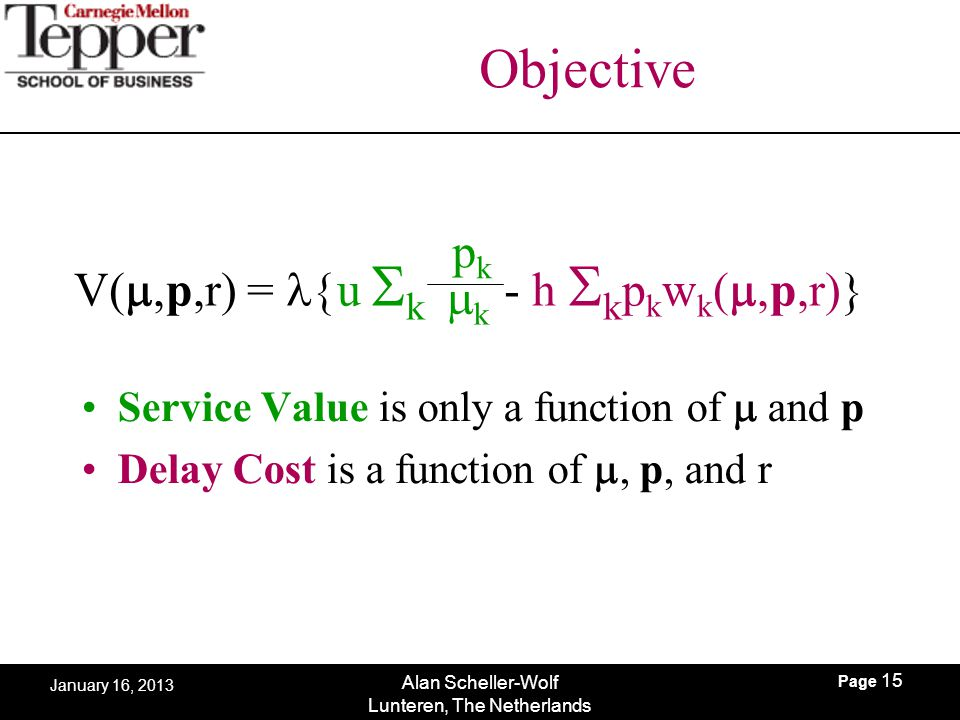 Page 15 Alan Scheller-Wolf Lunteren, The Netherlands January 16, 2013 Objective Service Value is only a function of  and p Delay Cost is a function
