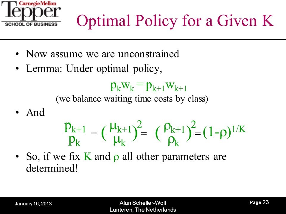 Page 23 Alan Scheller-Wolf Lunteren, The Netherlands January 16, 2013 Optimal Policy for a Given K Now assume we are unconstrained Lemma: Under optima