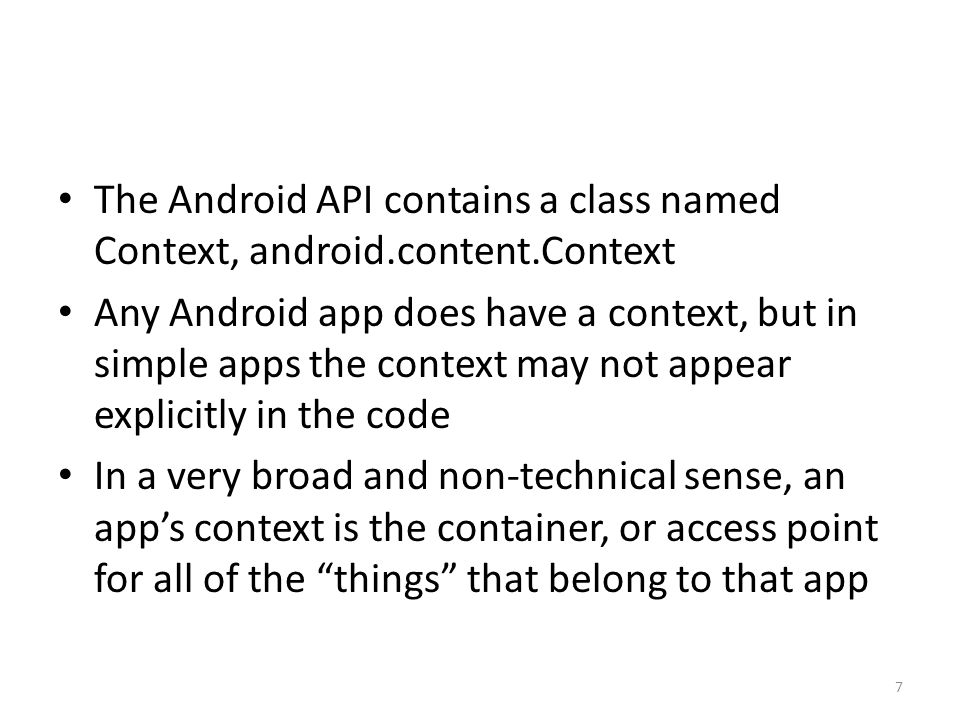 5.4 Intents There is another class in the Android API, the Intent class, android.content.Intent Intents are a critical element of the structure of a multiple-activity app Intents are the mechanism used for transitioning between one activity and another 48