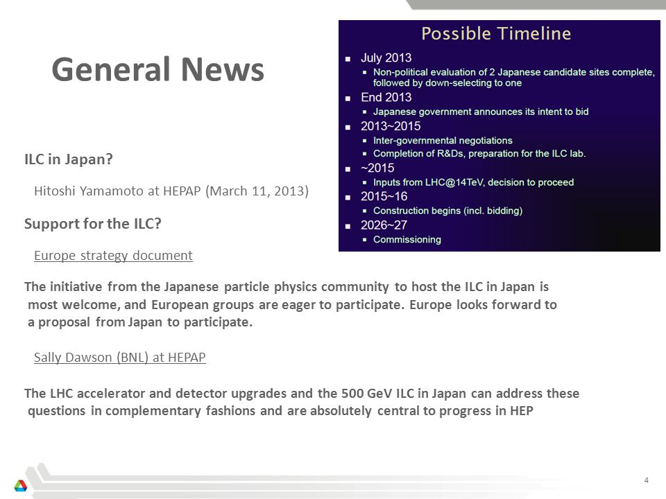 4 General News ILC in Japan. Hitoshi Yamamoto at HEPAP (March 11, 2013) Support for the ILC.