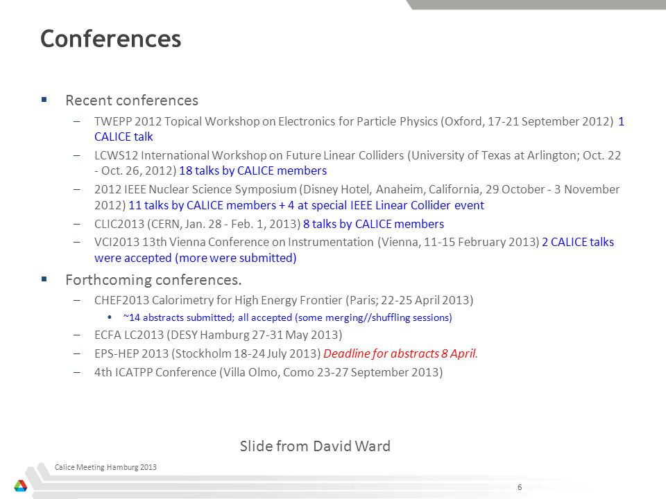 Conferences  Recent conferences –TWEPP 2012 Topical Workshop on Electronics for Particle Physics (Oxford, 17-21 September 2012) 1 CALICE talk –LCWS12 International Workshop on Future Linear Colliders (University of Texas at Arlington; Oct.