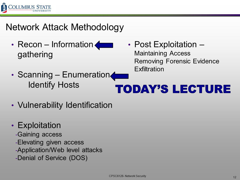 CPSC6128- Network Security 12 Network Attack Methodology Recon – Information gathering Scanning – Enumeration Identify Hosts Vulnerability Identificat