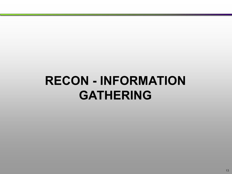 RECON - INFORMATION GATHERING 13