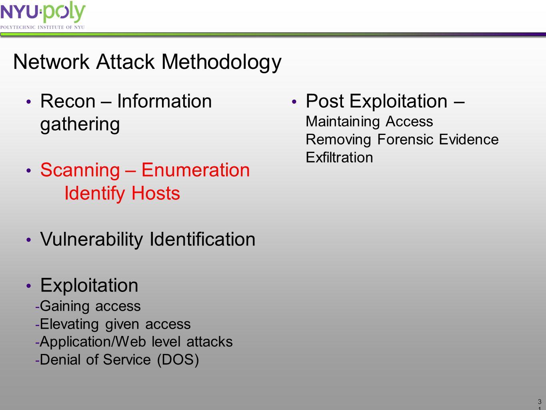 3131 Network Attack Methodology Recon – Information gathering Scanning – Enumeration Identify Hosts Vulnerability Identification Exploitation - Gainin