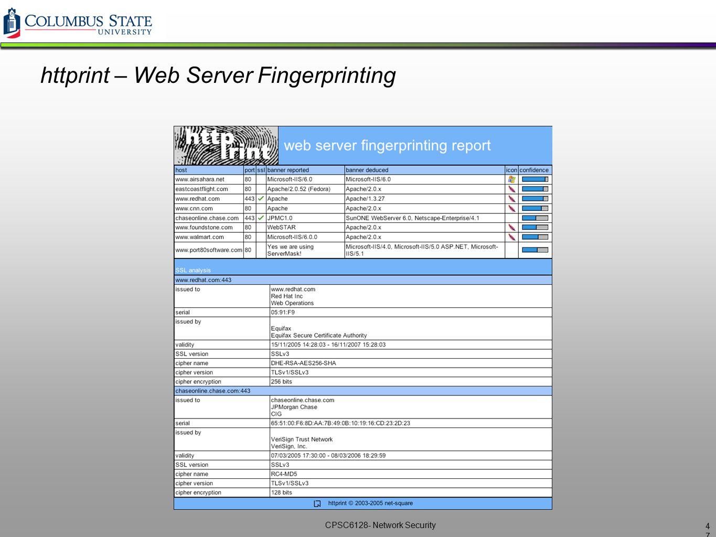 CPSC6128- Network Security httprint – Web Server Fingerprinting 4747