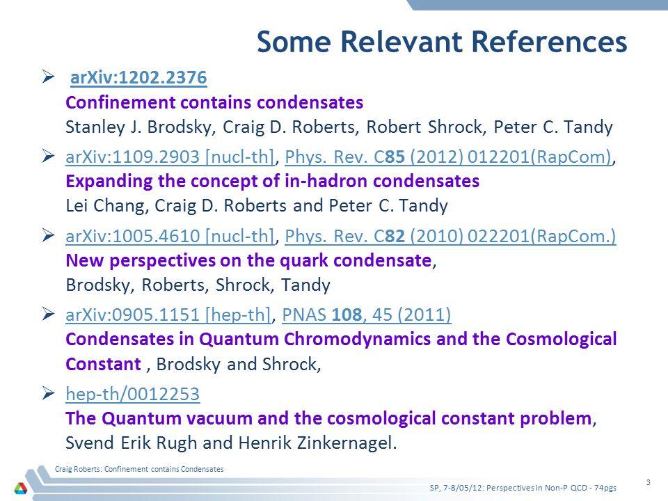 Some Relevant References  arXiv:1202.2376 arXiv:1202.2376 Confinement contains condensates Stanley J.