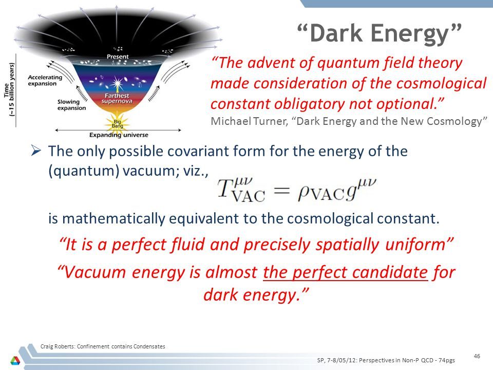 Dark Energy  The only possible covariant form for the energy of the (quantum) vacuum; viz., is mathematically equivalent to the cosmological constant.